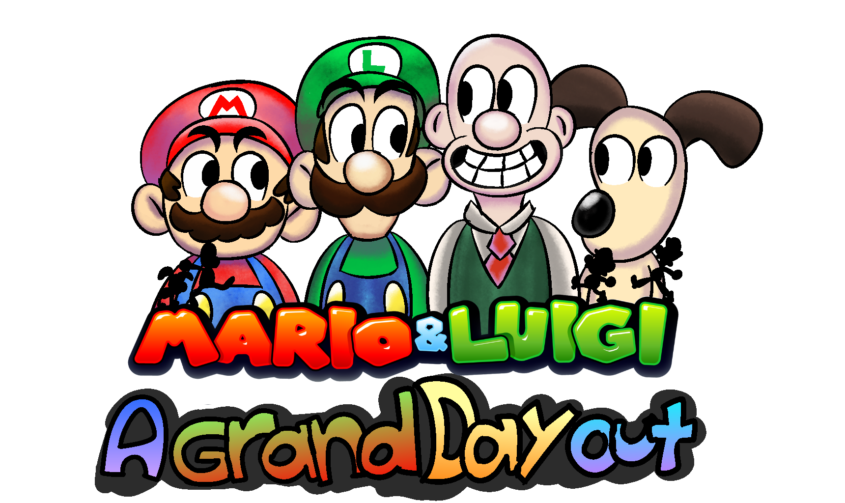 Mario & Luigi goes on 'A Grand Day Out' with Wallace & Gromit.