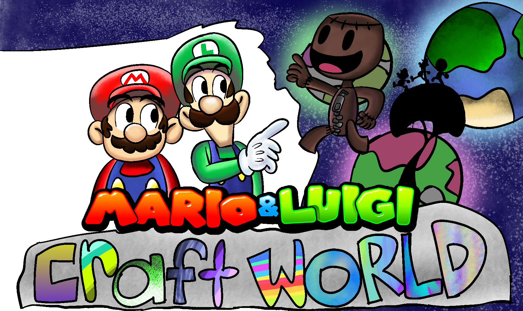 When the Mario Bros. enter the imaginesphere in Sackboy's homeworld.